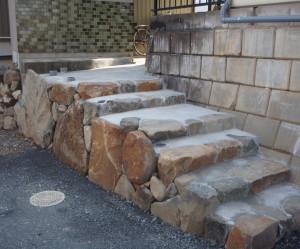 岐阜県海津市 外構階段手摺取り付け工事前