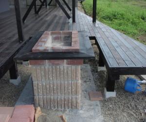 三重県桑名市 ウッドデッキバーベキューテーブル設置工事2
